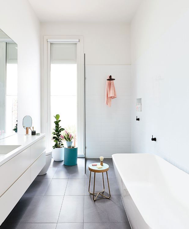 Link Love   Bloesem Living: Minimal bathroom with a few pops of colour